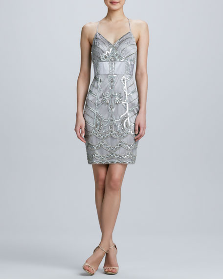 T-Back Strap Embroidered Cocktail Dress