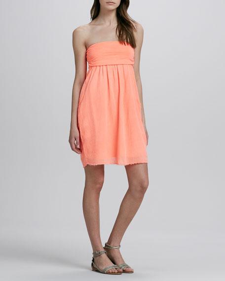 Neon Strapless Gauze Dress
