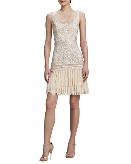 Scoop-Neck Embroidered Fringe Cocktail Dress