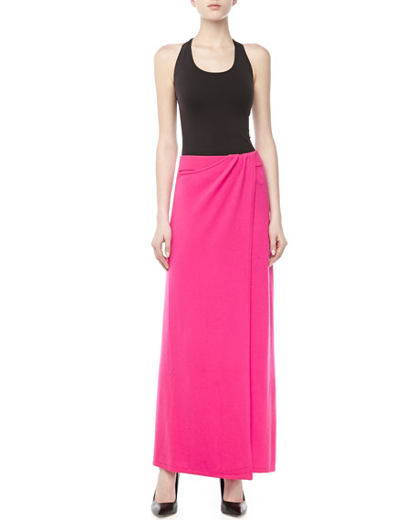 Stretch Cashmere Sarong Skirt, Neon