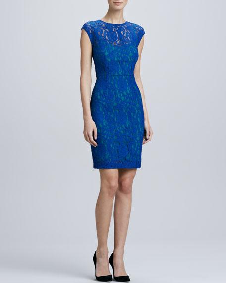 Lace Contrast-Underlay Sheath Dress