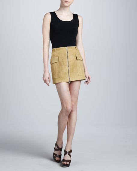 Suede Cargo Miniskirt