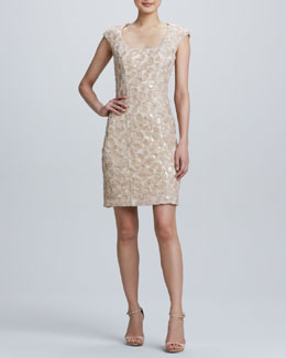 Sue Wong Sequined Embroidered Cocktail Dress