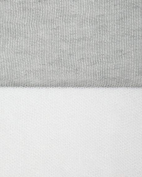 Linen-Blend Mesh Boxy Tunic