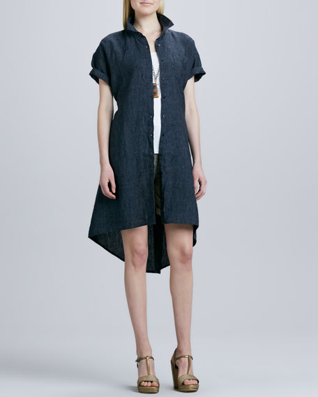 Delave Washed Linen Shirt Dress, Petite