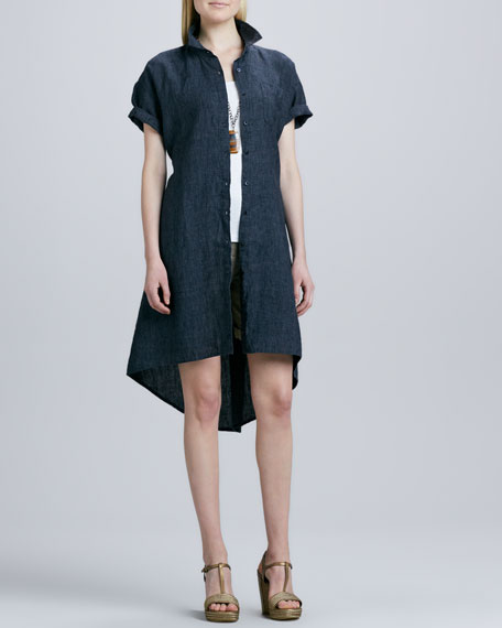 Delave Washed Linen Shirt Dress, Women's