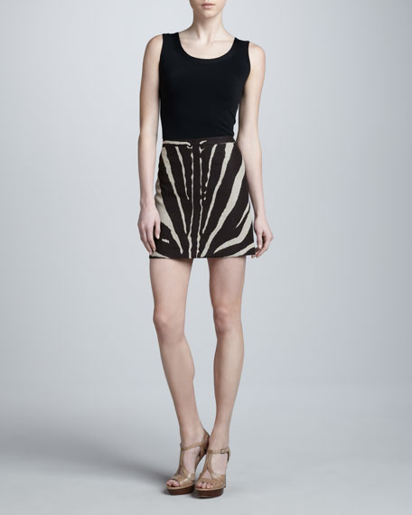Zebra-Print Serge Miniskirt