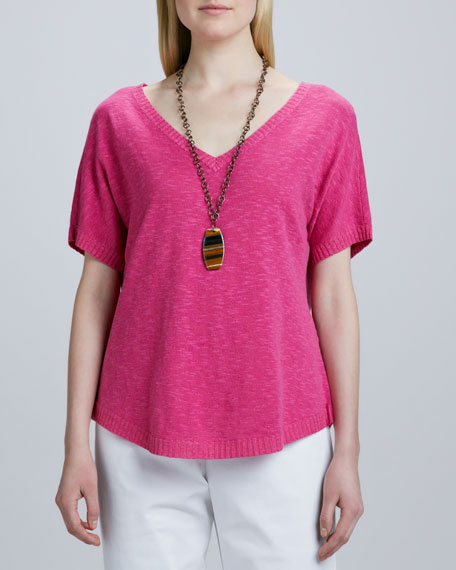 Slub Knit V-Neck Top