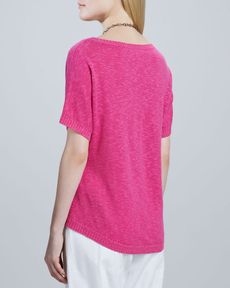 Slub Knit V-Neck Top, Women's