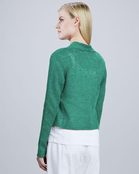 Linen Mesh Cropped Cardigan, Women's