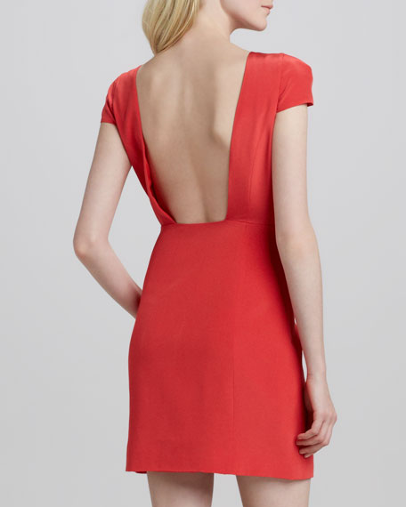Jewel-Neck Open-Back Dress