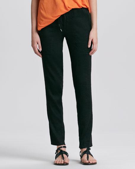 Stretch Linen-Blend Pants