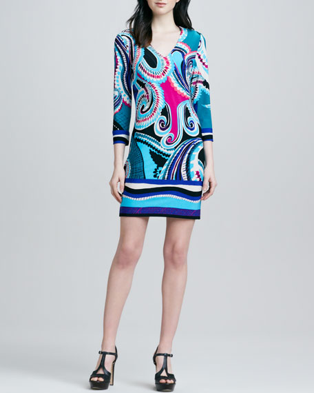 Paisley Print V-Neck Dress, Teal
