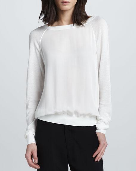 Mix-Fabric Sweater