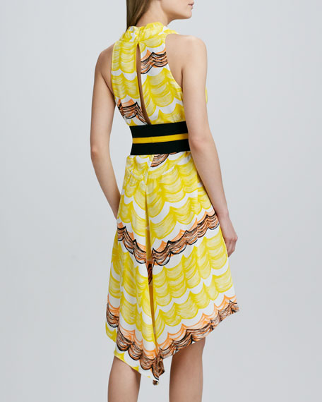 Halter Printed High-Low Dress