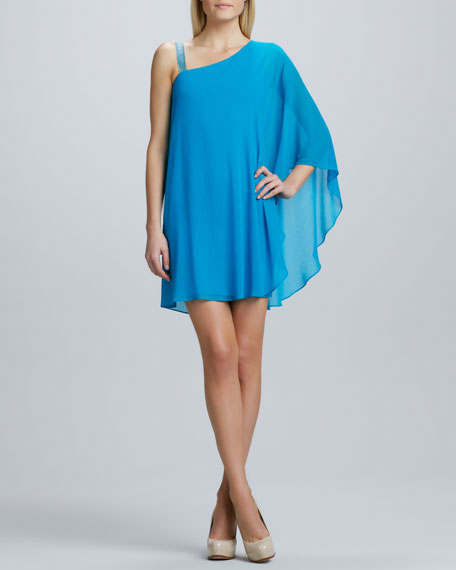 One-Shoulder Caftan Cocktail Dress
