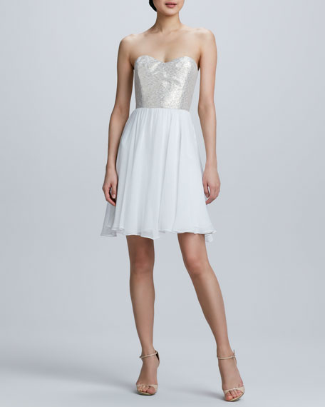Strapless Sequined Bodice Cocktail Dress