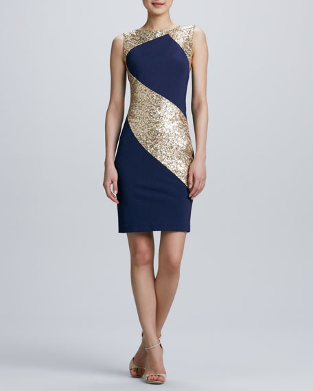 Sequined Ponte Combo Sheath Cocktail Dress
