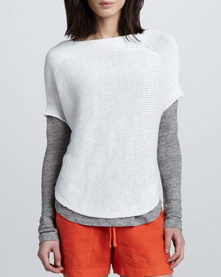 Boat-Neck Short-Sleeve Sweater