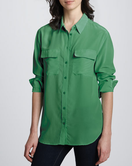 Signature Silk Button Blouse
