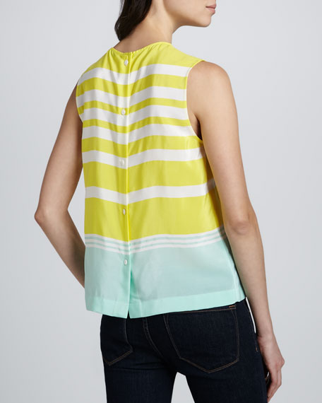 Reagan Striped Button-Back Blouse