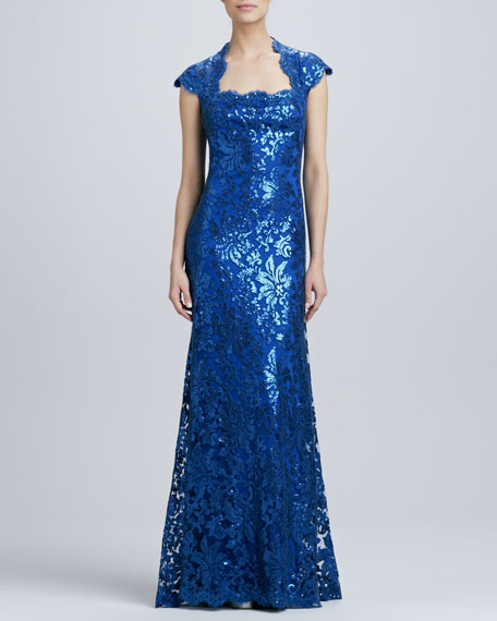 Sequined Lace Square-Neck Gown