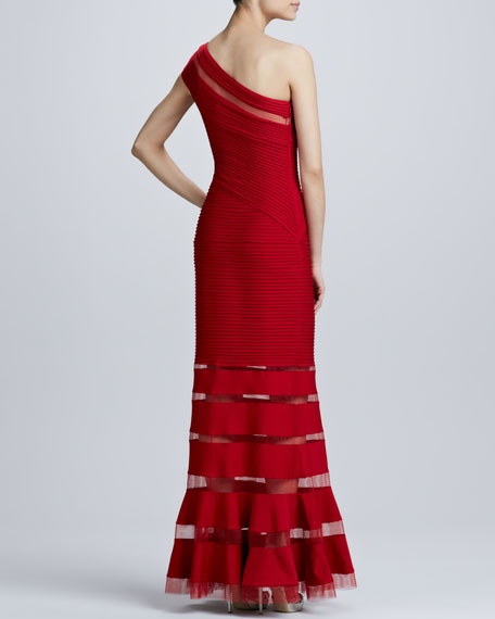 One-Shoulder Illusion Gown