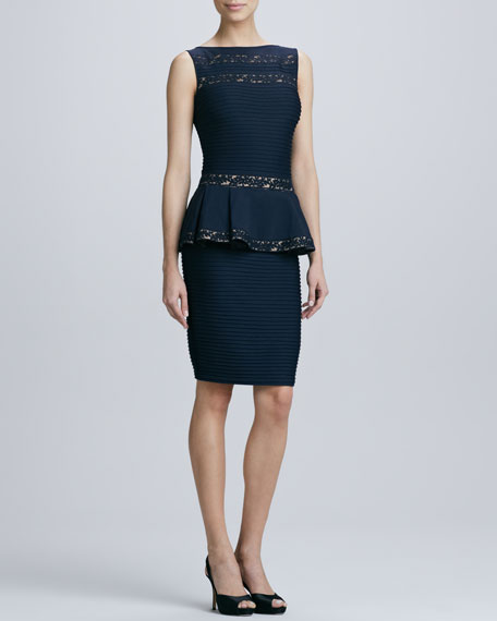 Sleeveless Bonded Peplum Cocktail Dress