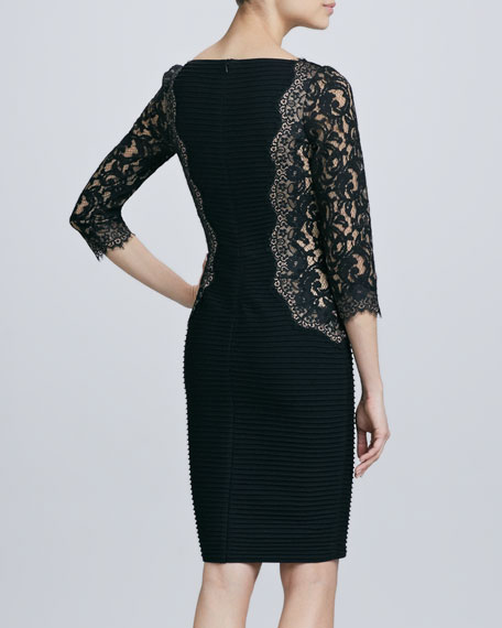 Lace-Inset 3/4-Sleeve Cocktail Dress