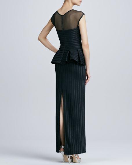 Illusion Peplum Striped-Jacquard Gown