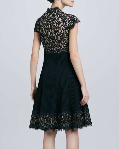 Lace Bodice Square-Neck Cocktail Dress