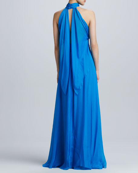 Silk Gathered Halter Gown