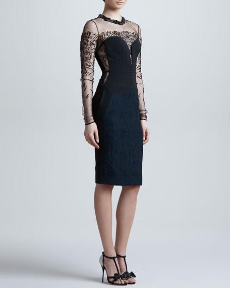Beaded Sheer-Yoke Long-Sleeve Dress, Eclipse