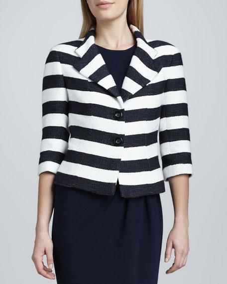 Striped Notch Collar Jacket
