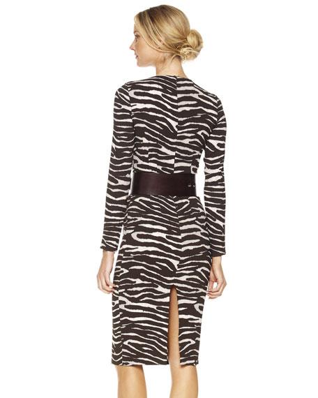 Zebra-Print Long-Sleeve Sheath Dress