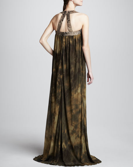 Printed Jersey Halter Gown