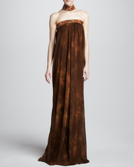 Printed Jersey Choker-Style Gown