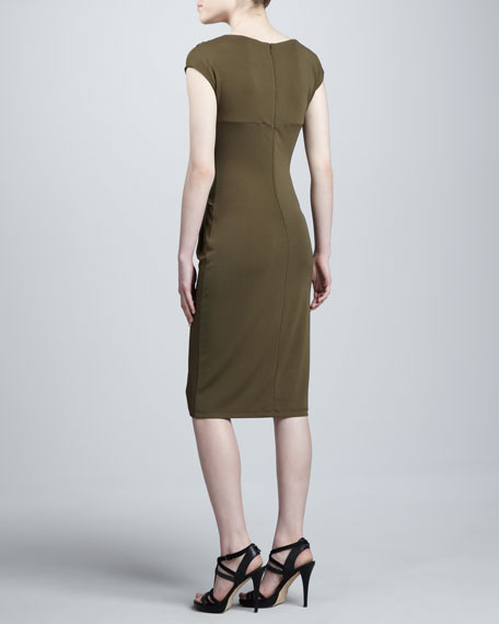 Draped Jersey Twist-Knot Dress