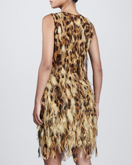 Feathered Shift Dress