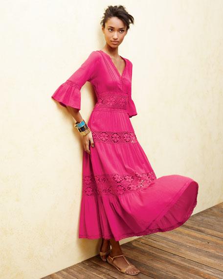 Lace-Insert Gauze Dress