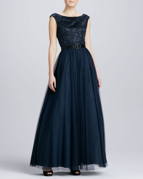 Lace Beaded Belted Tulle Gown