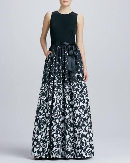 Sleeveless Printed Combo Gown