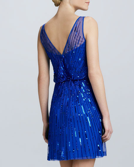 Boat-Neck Sequined Cocktail Dress