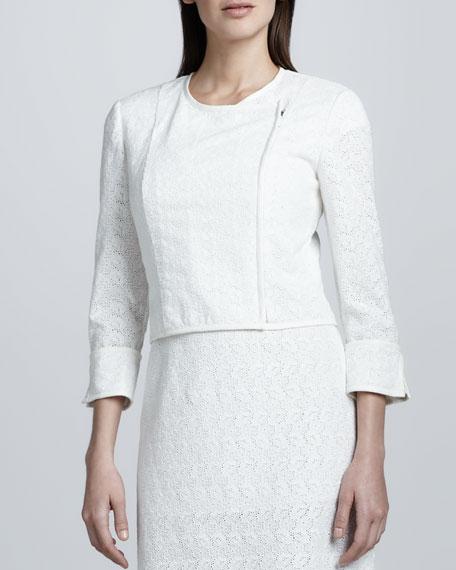 Eyelet Asymmetric Zip-Front Jacket