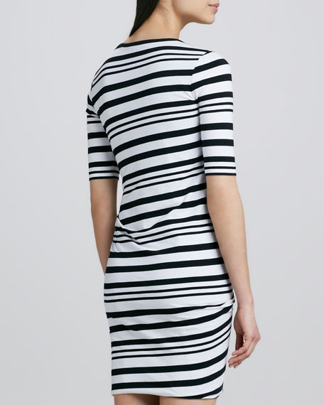 Striped Half-Sleeve Dress