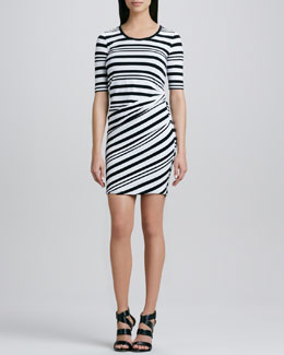 DKNY Striped Half-Sleeve Dress