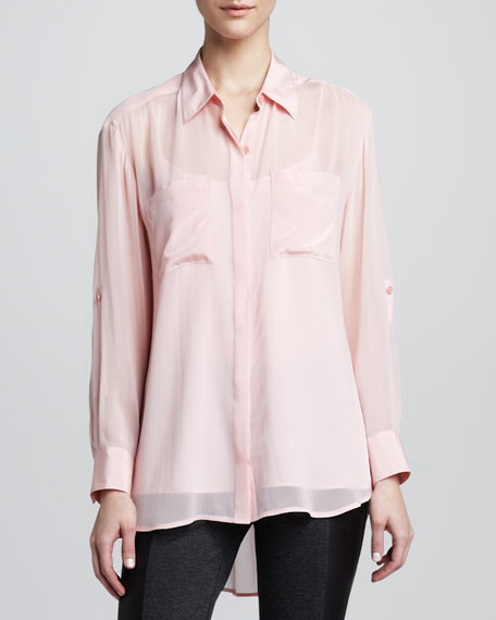 Button-Front Blouse with Pockets
