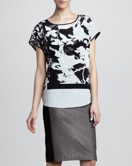 Leather Contrast-Panel Pencil Skirt