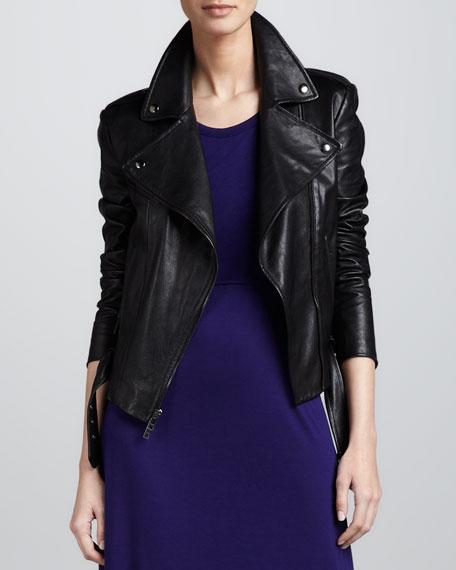 Asymmetric Zip-Front Leather Jacket