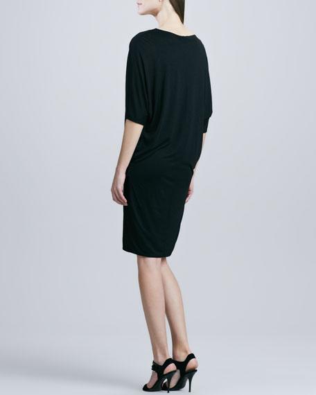 Dolman-Sleeve Draped-Front Dress